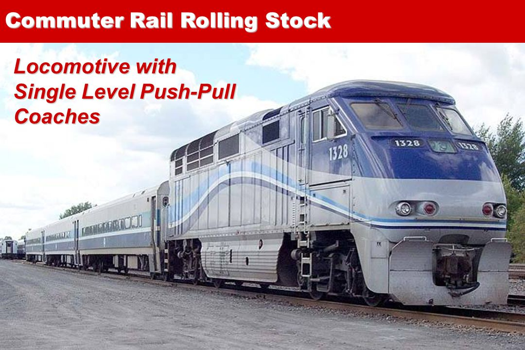 13 Locomotive with Single Level Push-Pull Coaches Commuter Rail Rolling Stock