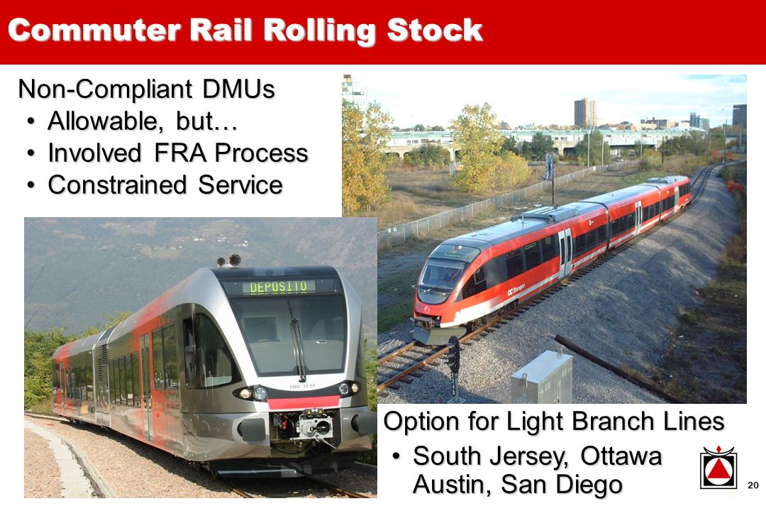 20 Non-Compliant DMUs Allowable, but…Allowable, but… Involved FRA ProcessInvolved FRA Process Constrained ServiceConstrained Service Option for Light Branch Lines South Jersey, Ottawa Austin, San DiegoSouth Jersey, Ottawa Austin, San Diego