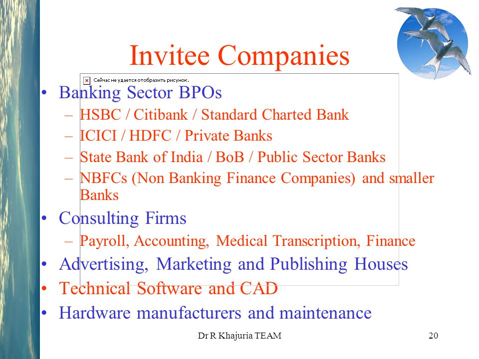 Dr R Khajuria TEAM20 Invitee Companies Banking Sector BPOs –HSBC / Citibank / Standard Charted Bank –ICICI / HDFC / Private Banks –State Bank of India