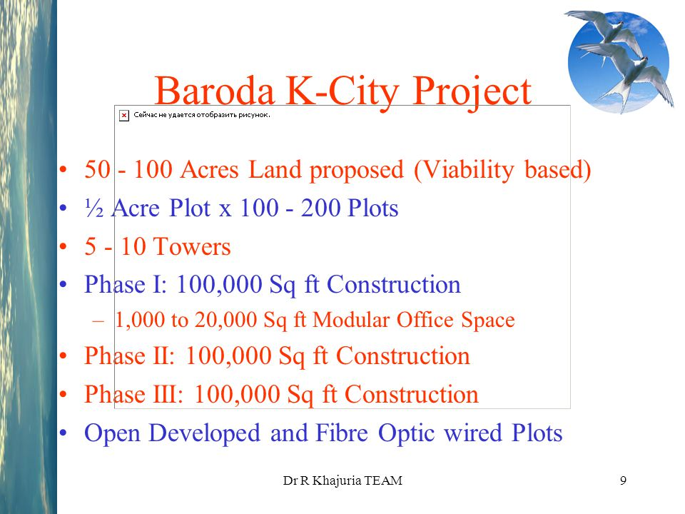 Dr R Khajuria TEAM9 Baroda K-City Project 50 - 100 Acres Land proposed (Viability based) ½ Acre Plot x 100 - 200 Plots 5 - 10 Towers Phase I: 100,000