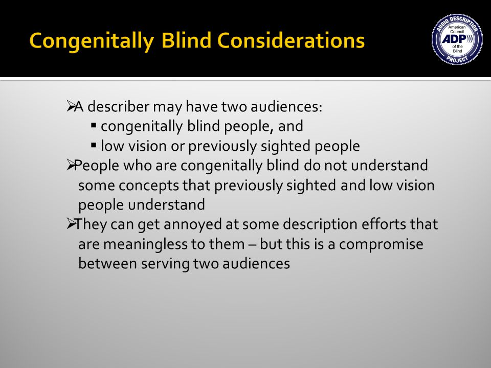A describer may have two audiences: congenitally blind people, and low vision or previously sighted people People who are congenitally blind do not understand some concepts that previously sighted and low vision people understand They can get annoyed at some description efforts that are meaningless to them – but this is a compromise between serving two audiences