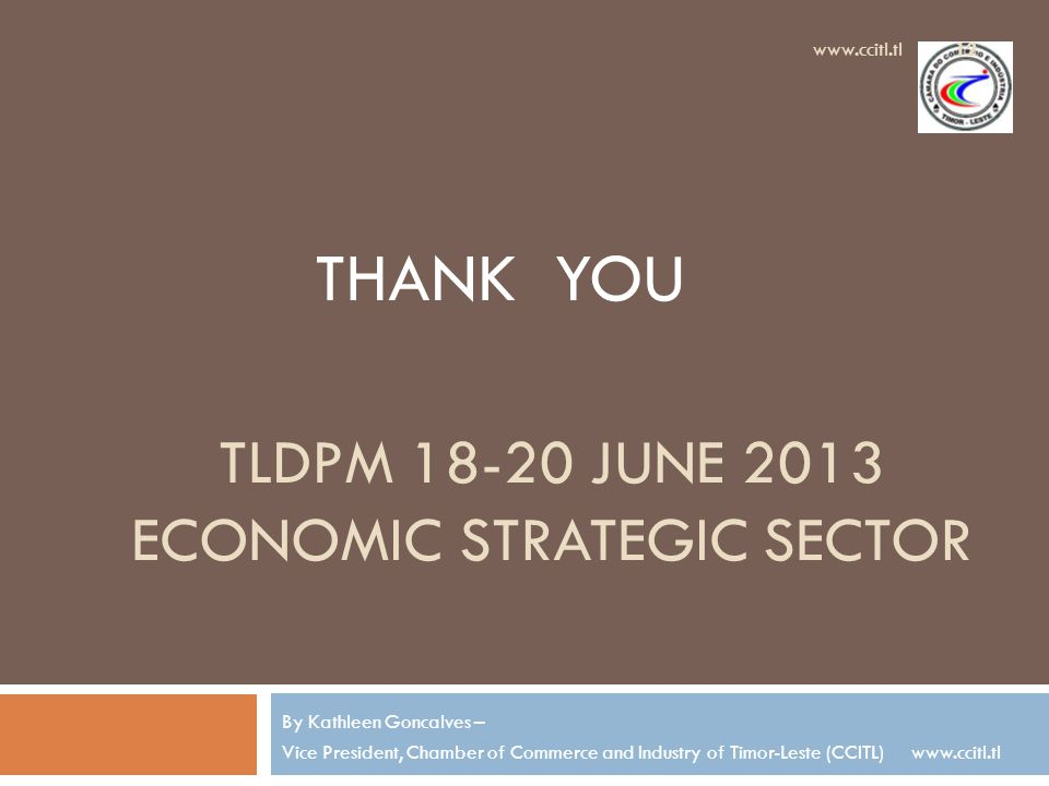 TLDPM 18-20 JUNE 2013 ECONOMIC STRATEGIC SECTOR By Kathleen Goncalves – Vice President, Chamber of Commerce and Industry of Timor-Leste (CCITL) www.ccitl.tl 12 www.ccitl.tl THANK YOU