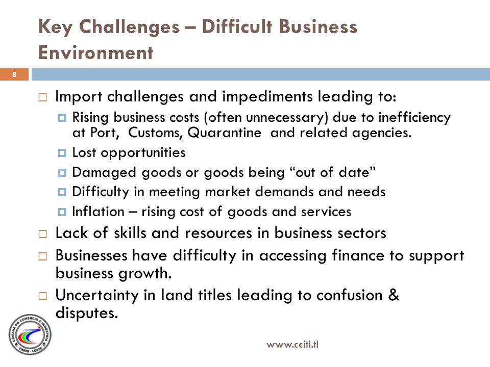 Key Challenges – Difficult Business Environment Import challenges and impediments leading to: Rising business costs (often unnecessary) due to inefficiency at Port, Customs, Quarantine and related agencies.
