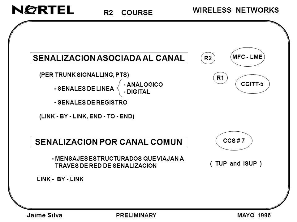 R2 COURSE Jaime Silva MAYO 1996 WIRELESS NETWORKS SENALIZACION ASOCIADA AL CANAL (PER TRUNK SIGNALLING, PTS) - SENALES DE LINEA - SENALES DE REGISTRO (LINK - BY - LINK, END - TO - END) SENALIZACION POR CANAL COMUN - MENSAJES ESTRUCTURADOS QUE VIAJAN A TRAVES DE RED DE SENALIZACION LINK - BY - LINK R2 MFC - LME CCS # 7 - ANALOGICO - DIGITAL R1 CCITT-5 ( TUP and ISUP ) PRELIMINARY
