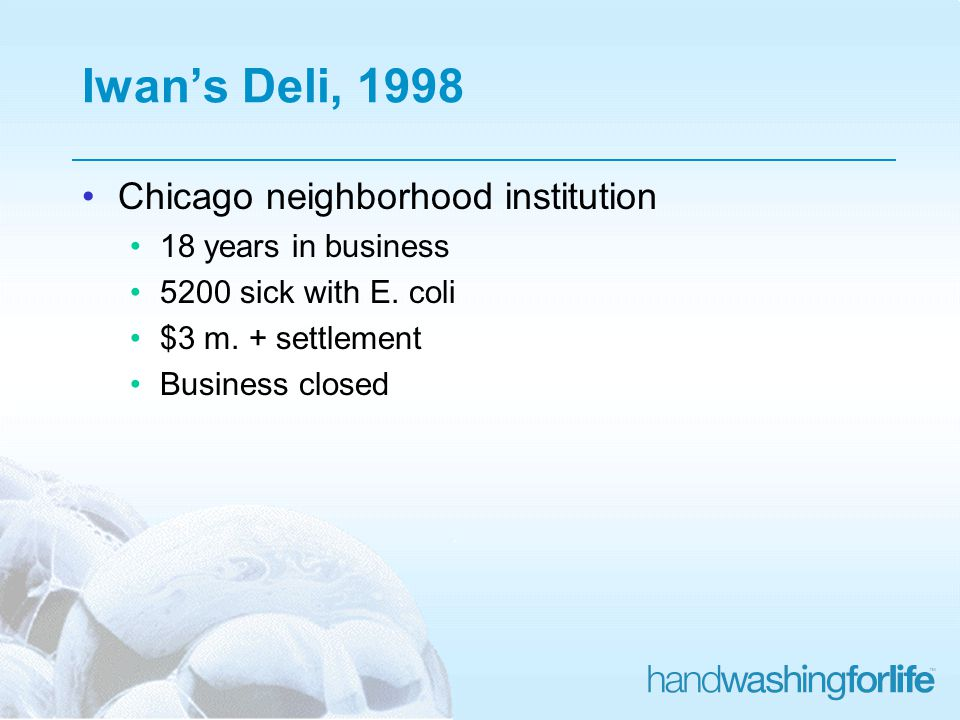 Iwans Deli, 1998 Chicago neighborhood institution 18 years in business 5200 sick with E.