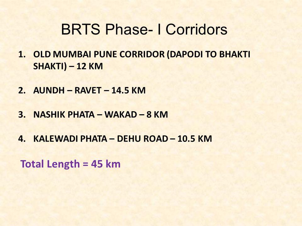 1.OLD MUMBAI PUNE CORRIDOR (DAPODI TO BHAKTI SHAKTI) – 12 KM 2.AUNDH – RAVET – 14.5 KM 3.NASHIK PHATA – WAKAD – 8 KM 4.KALEWADI PHATA – DEHU ROAD – 10.5 KM Total Length = 45 km BRTS Phase- I Corridors
