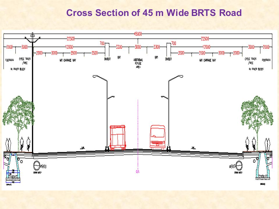 Cross Section of 45 m Wide BRTS Road