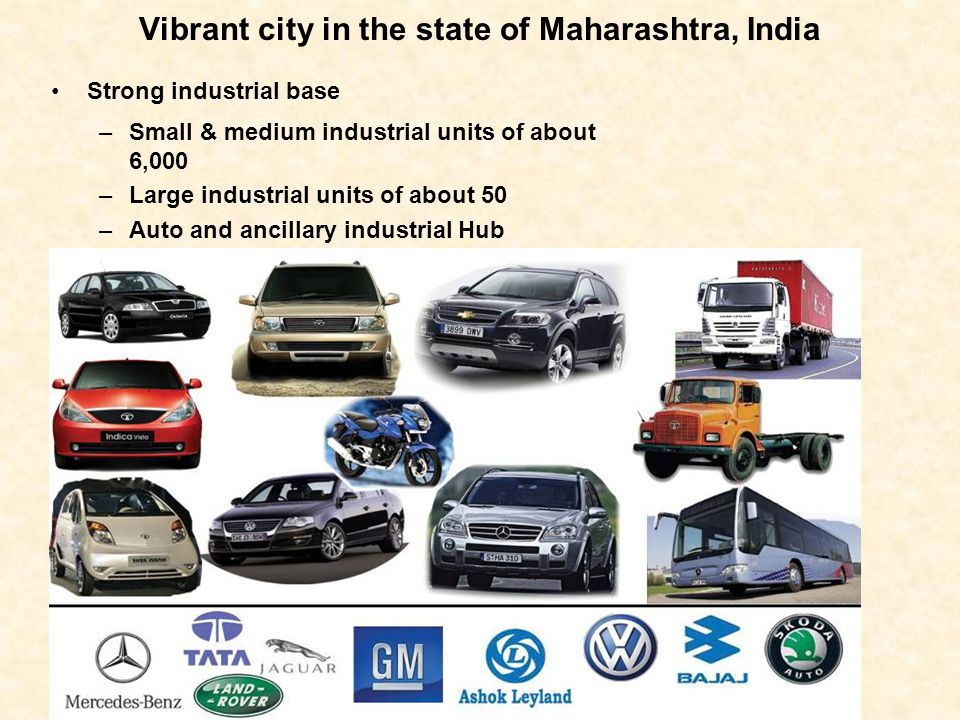 Vibrant city in the state of Maharashtra, India Strong industrial base –Small & medium industrial units of about 6,000 –Large industrial units of abou