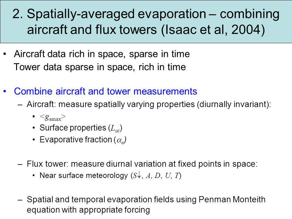 2. Spatially-averaged evaporation – combining aircraft and flux towers (Isaac et al, 2004) Aircraft data rich in space, sparse in time Tower data spar