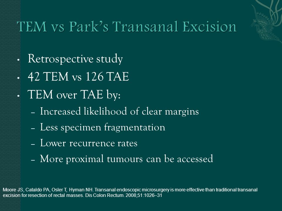 Retrospective study 42 TEM vs 126 TAE TEM over TAE by: – Increased likelihood of clear margins – Less specimen fragmentation – Lower recurrence rates – More proximal tumours can be accessed Moore JS, Cataldo PA, Osler T, Hyman NH.