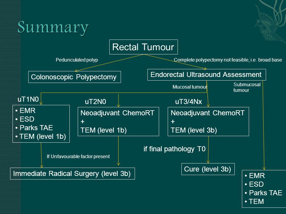 Pedunculated polyp Endorectal Ultrasound Assessment Rectal Tumour Colonoscopic Polypectomy EMR ESD Parks TAE TEM (level 1b) Neoadjuvant ChemoRT + TEM (level 1b) Complete polypectomy not feasible, i.e.
