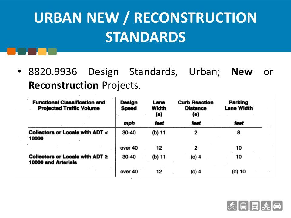URBAN RECONDITIONING STANDARDS 8820.9946 Minimum Design Standards, Urban; Reconditioning Projects.