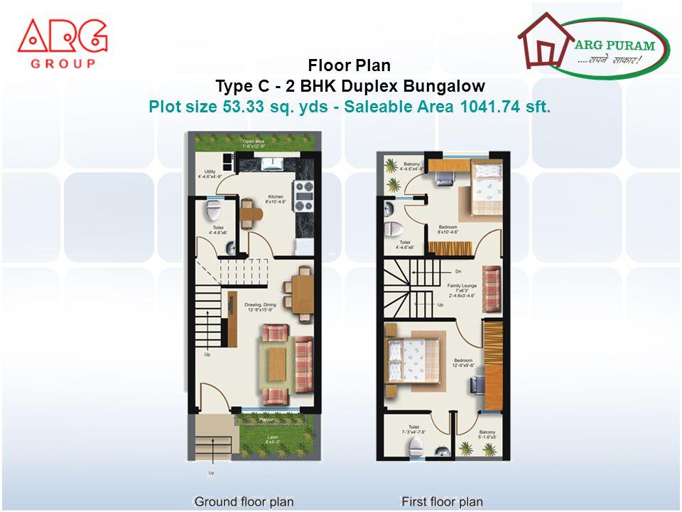 Floor Plan Type C - 2 BHK Duplex Bungalow Plot size 53.33 sq. yds - Saleable Area 1041.74 sft.