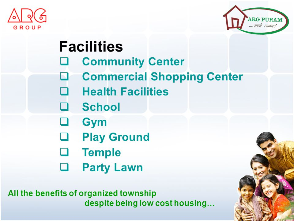 Community Center Commercial Shopping Center Health Facilities School Gym Play Ground Temple Party Lawn Facilities All the benefits of organized township despite being low cost housing…