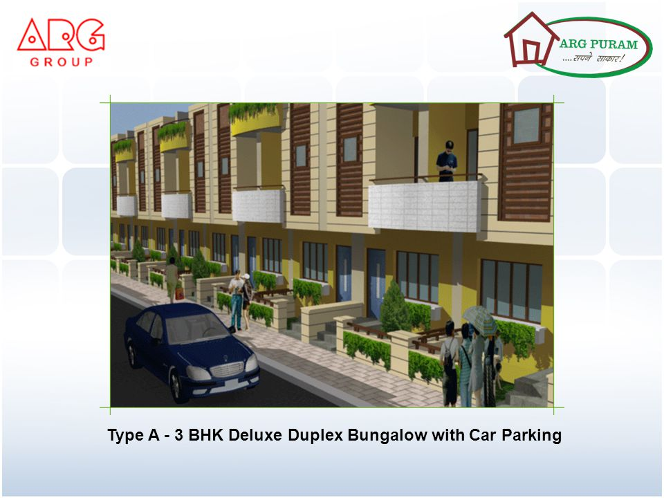 Floor Plan Type A - 3 BHK Deluxe Duplex Bungalow with Car Parking Plot size 133 sq.