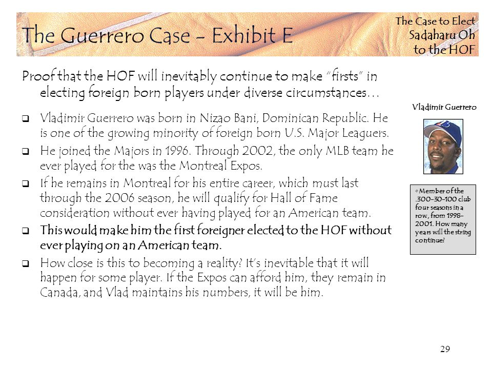 The Case to Elect Sadaharu Oh to the HOF 29 Proof that the HOF will inevitably continue to make firsts in electing foreign born players under diverse circumstances… Vladimir Guerrero was born in Nizao Bani, Dominican Republic.