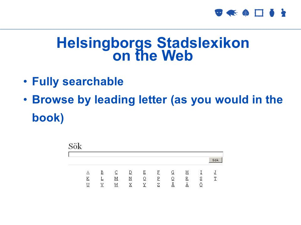Collections Management 2 September 2005 Helsingborgs Stadslexikon on the Web Fully searchable Browse by leading letter (as you would in the book)
