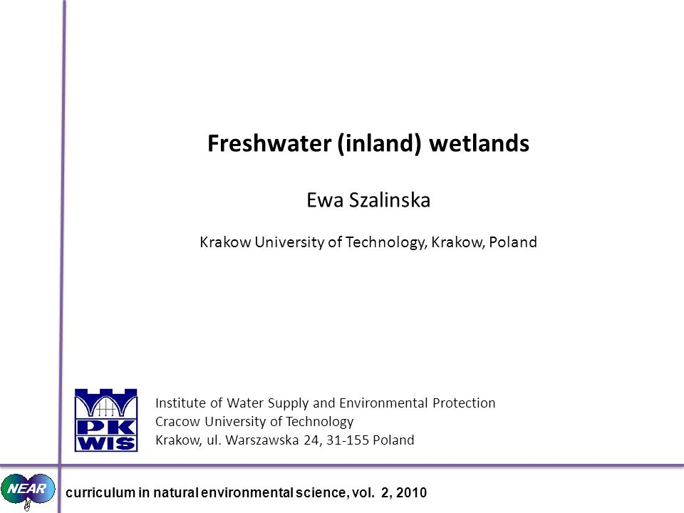 Institute of Water Supply and Environmental Protection Cracow University of Technology Krakow, ul.