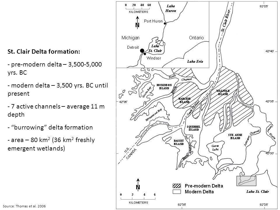 Source: Thomas et al. 2006 St. Clair Delta formation: - pre-modern delta – 3,500-5,000 yrs.
