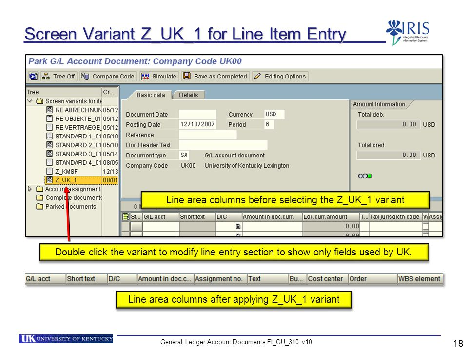General Ledger Account Documents FI_GU_310 v10 18 Screen Variant Z_UK_1 for Line Item Entry Double click the variant to modify line entry section to s