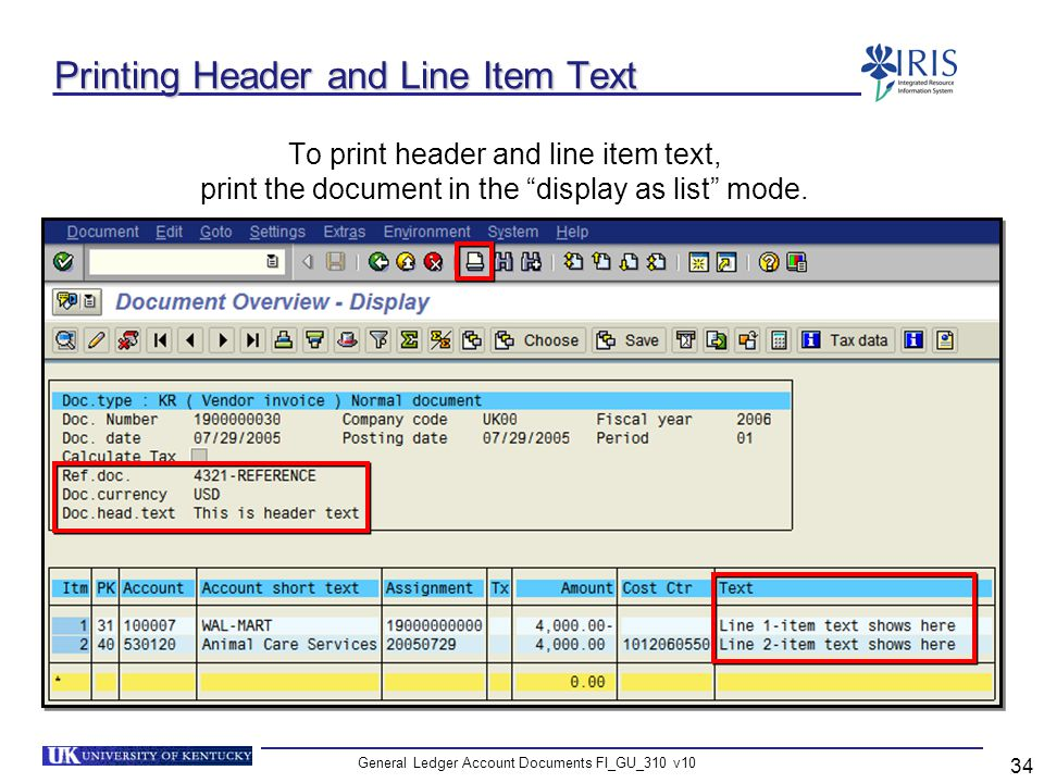General Ledger Account Documents FI_GU_310 v10 34 Printing Header and Line Item Text To print header and line item text, print the document in the dis