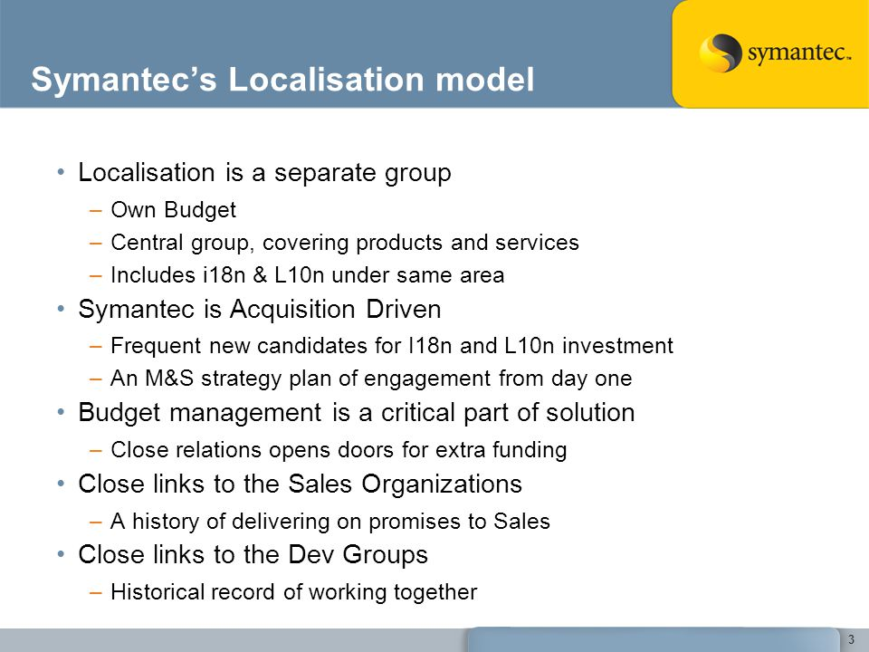 Symantecs Localisation model Localisation is a separate group –Own Budget –Central group, covering products and services –Includes i18n & L10n under s