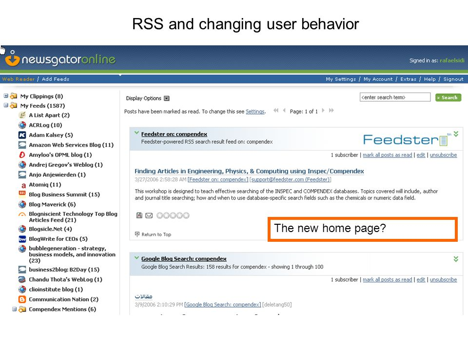 RSS and changing user behavior The new home page