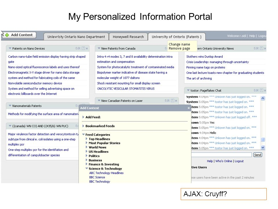 My Personalized Information Portal AJAX: Cruyff