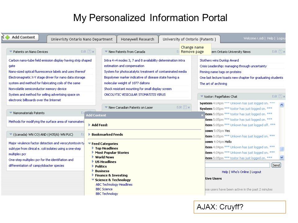 My Personalized Information Portal AJAX: Cruyff?