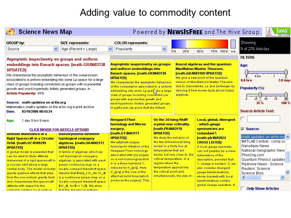 Adding value to commodity content
