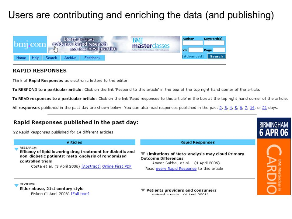 Users are contributing and enriching the data (and publishing)