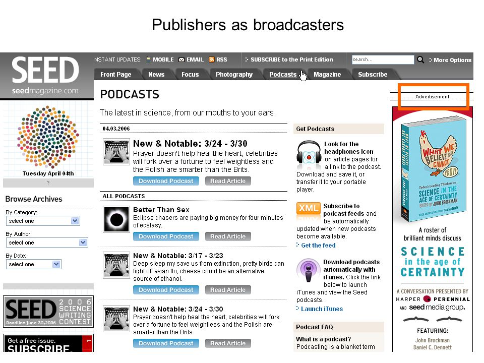 Publishers as broadcasters