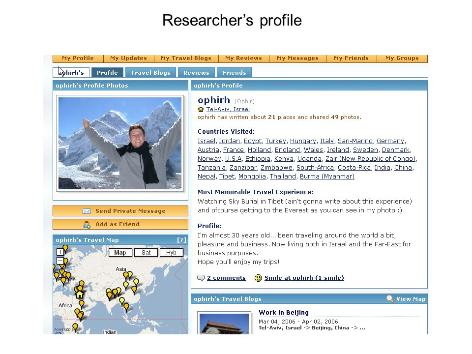 Researchers profile