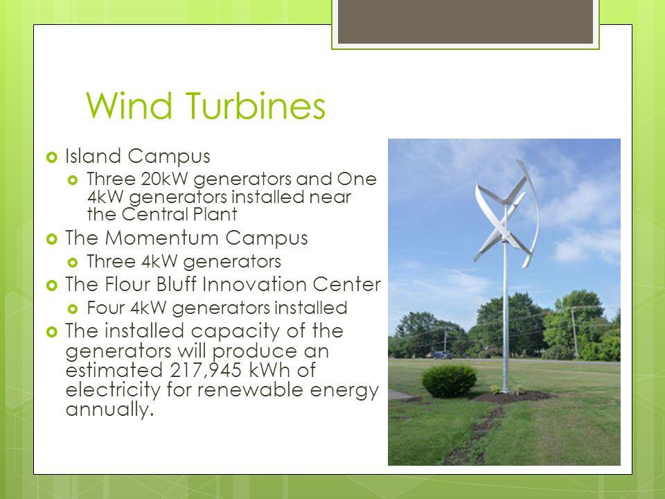 Wind Turbines Island Campus Three 20kW generators and One 4kW generators installed near the Central Plant The Momentum Campus Three 4kW generators The