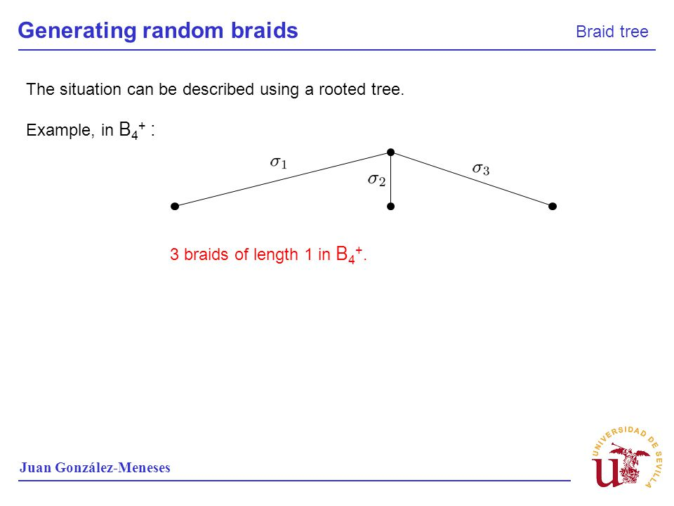 Generating random braids Braid tree Juan González-Meneses Example, in B 4 + : The situation can be described using a rooted tree. 3 braids of length 1
