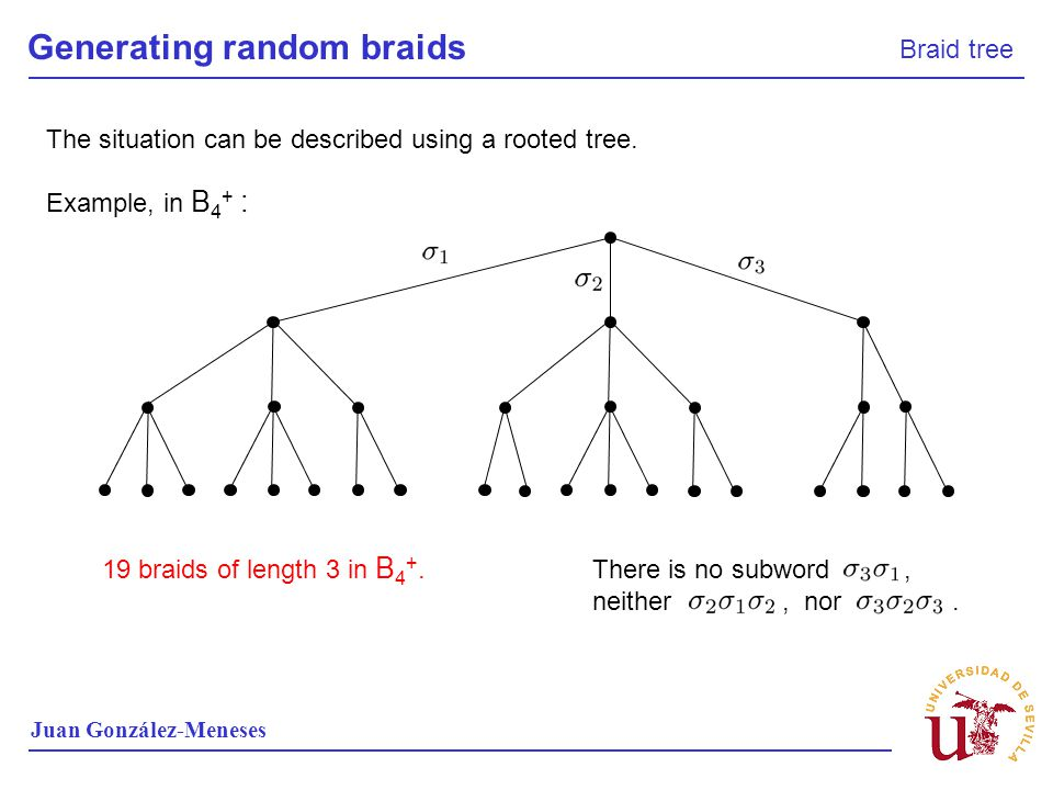Generating random braids Braid tree Juan González-Meneses Example, in B 4 + : The situation can be described using a rooted tree. 19 braids of length