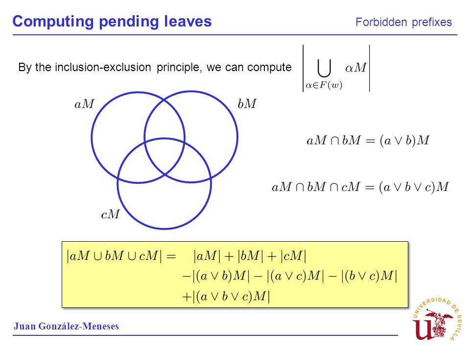 Computing pending leaves Forbidden prefixes Juan González-Meneses By the inclusion-exclusion principle, we can compute