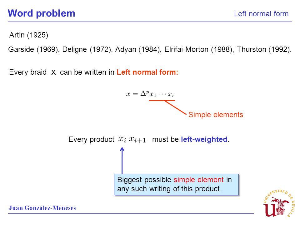 Word problem Left normal form Juan González-Meneses Garside (1969), Deligne (1972), Adyan (1984), Elrifai-Morton (1988), Thurston (1992).