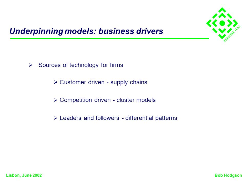 ZERNIKE (UK) Underpinning models: business drivers Sources of technology for firms Bob HodgsonLisbon, June 2002 Customer driven - supply chains Competition driven - cluster models Leaders and followers - differential patterns