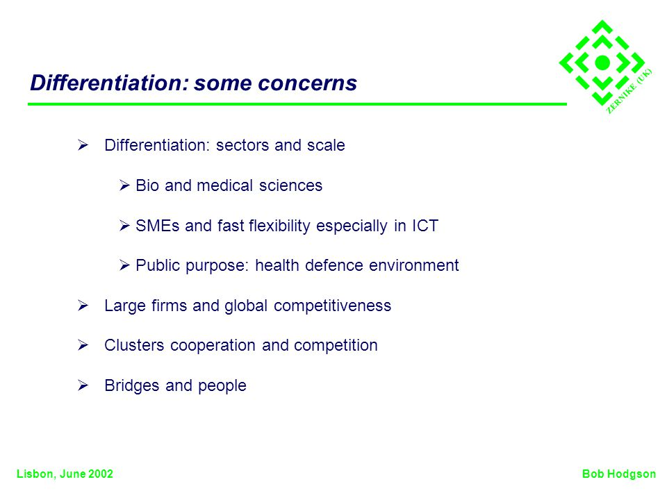 ZERNIKE (UK) Differentiation: some concerns Differentiation: sectors and scale Bio and medical sciences SMEs and fast flexibility especially in ICT Public purpose: health defence environment Large firms and global competitiveness Clusters cooperation and competition Bridges and people Bob HodgsonLisbon, June 2002