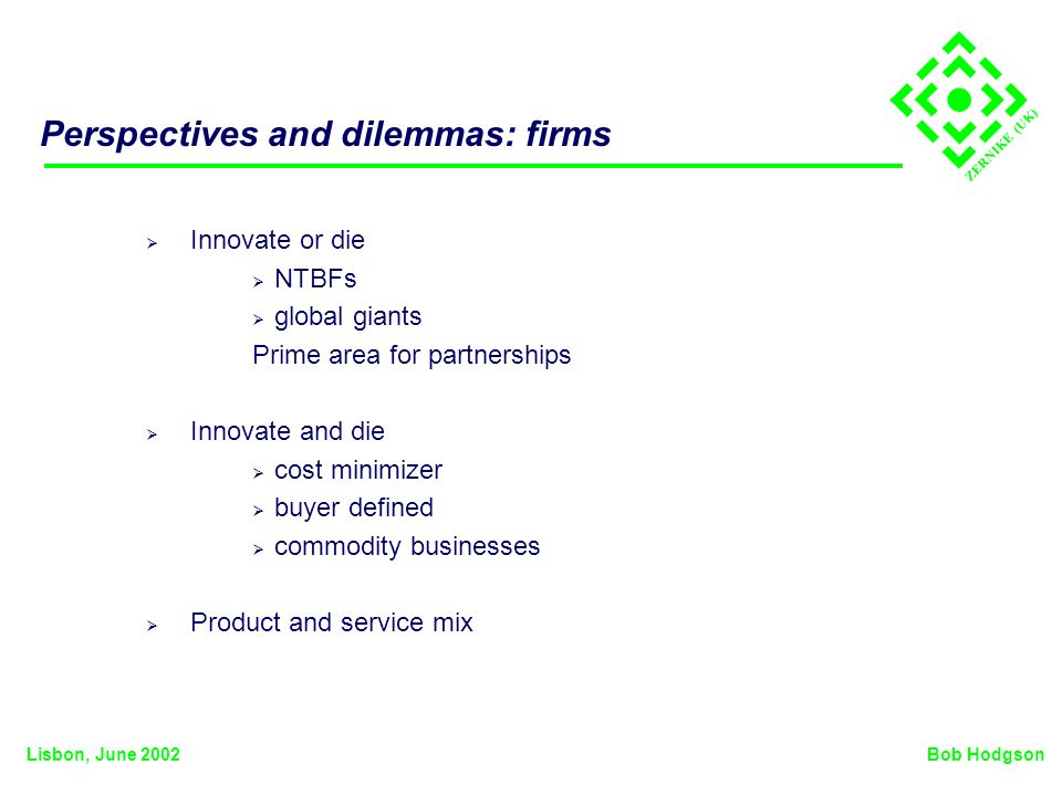 ZERNIKE (UK) Perspectives and dilemmas: firms Innovate or die NTBFs global giants Prime area for partnerships Innovate and die cost minimizer buyer defined commodity businesses Product and service mix Bob HodgsonLisbon, June 2002