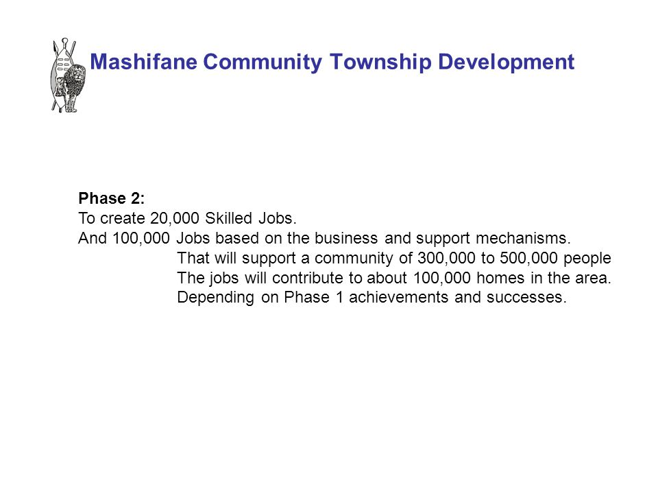 Mashifane Community Township Development Phase 2: To create 20,000 Skilled Jobs.