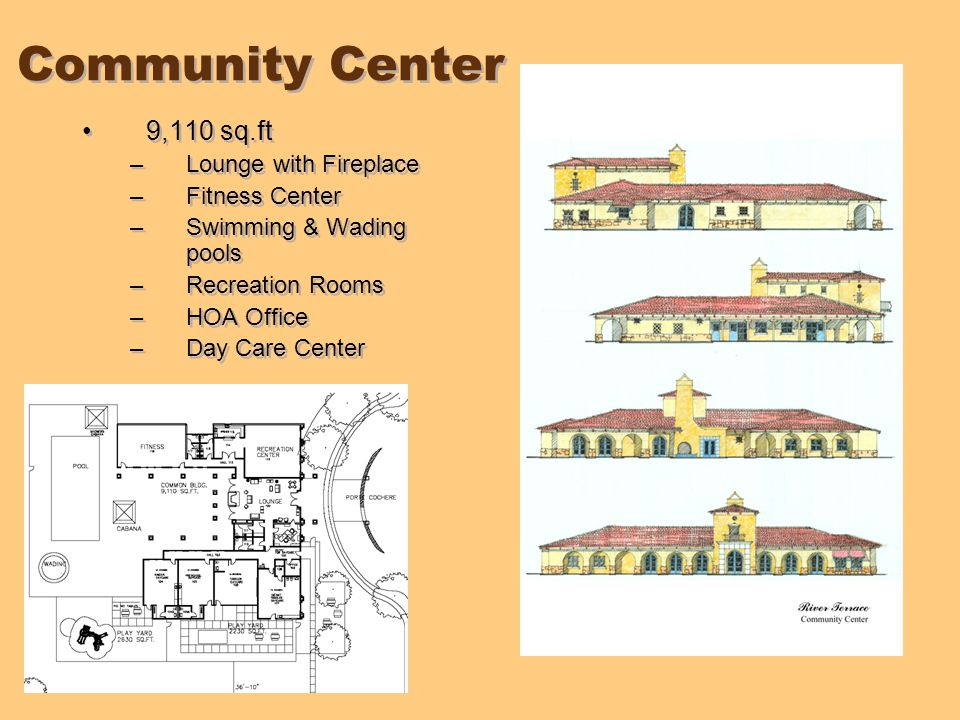 Community Center 9,110 sq.ft –Lounge with Fireplace –Fitness Center –Swimming & Wading pools –Recreation Rooms –HOA Office –Day Care Center 9,110 sq.ft –Lounge with Fireplace –Fitness Center –Swimming & Wading pools –Recreation Rooms –HOA Office –Day Care Center