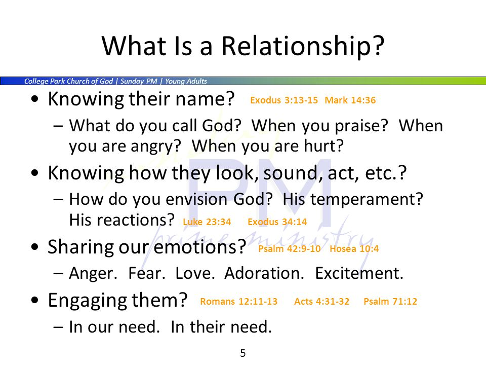 College Park Church of God | Sunday PM | Young Adults 5 What Is a Relationship.