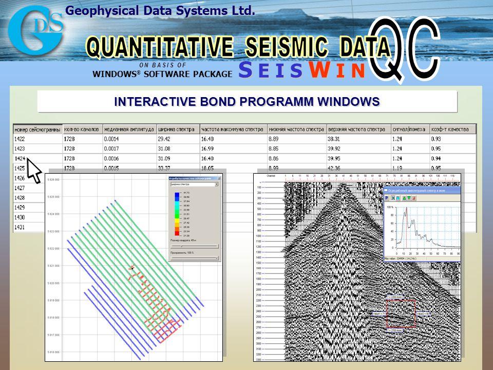 Geophysical Data Systems Ltd. S E I S W I N O N B A S I S O F WINDOWS ® SOFTWARE PACKAGE INTERACTIVE BOND PROGRAMM WINDOWS