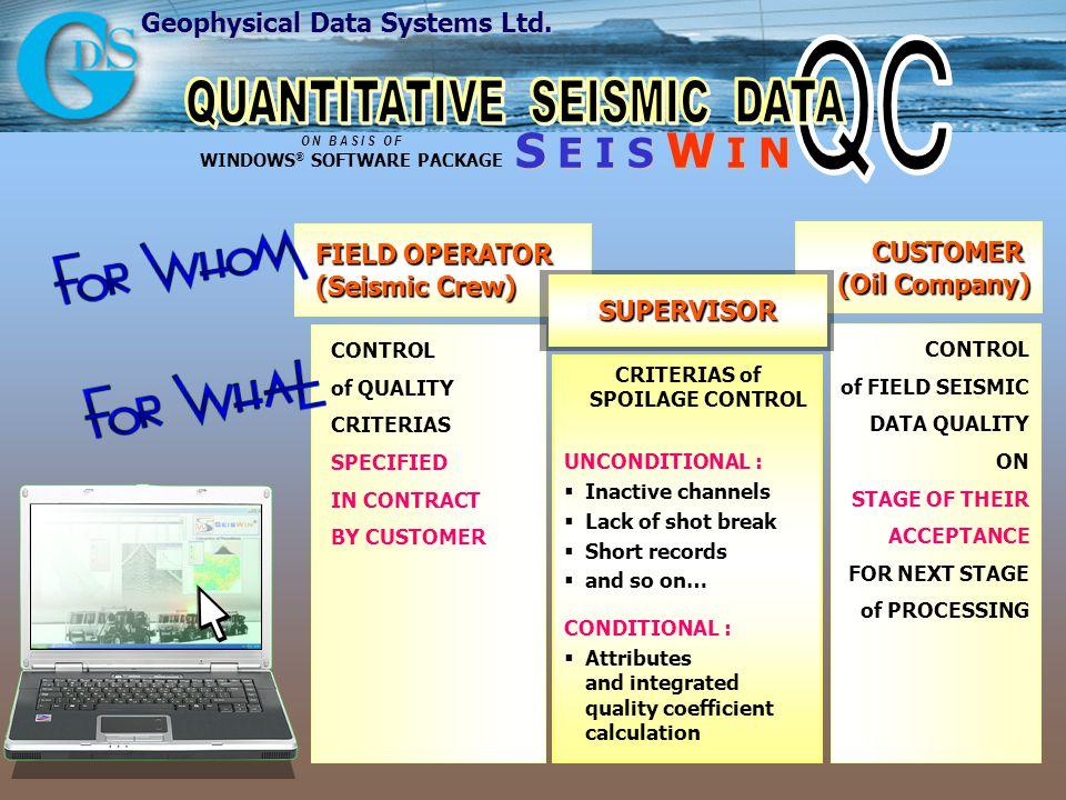 Geophysical Data Systems Ltd. S E I S W I N O N B A S I S O F WINDOWS ® SOFTWARE PACKAGE FIELD OPERATOR (Seismic Crew) CUSTOMER (Oil Company) CONTROL