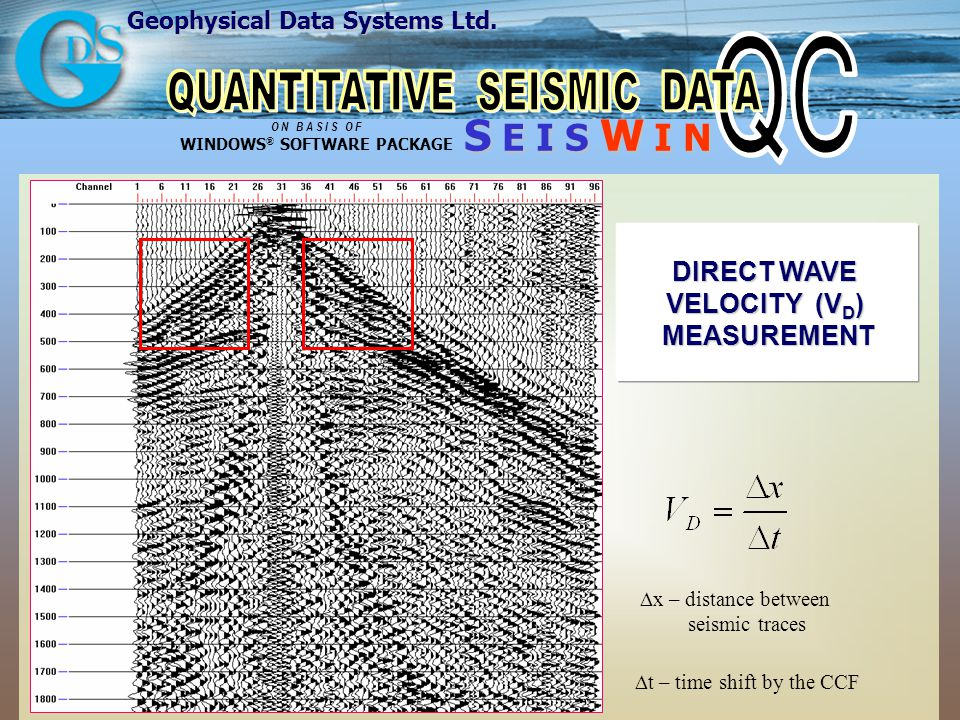 Geophysical Data Systems Ltd. S E I S W I N O N B A S I S O F WINDOWS ® SOFTWARE PACKAGE DIRECT WAVE VELOCITY (V D ) MEASUREMENT x – distance between