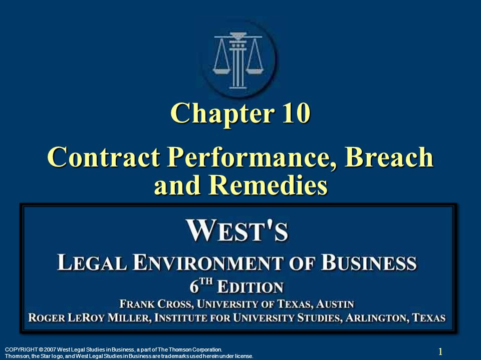 1 COPYRIGHT © 2007 West Legal Studies in Business, a part of The Thomson Corporation. Thomson, the Star logo, and West Legal Studies in Business are t