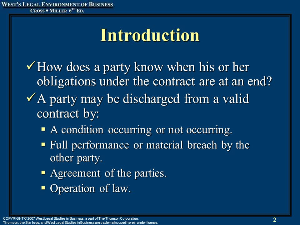 2 COPYRIGHT © 2007 West Legal Studies in Business, a part of The Thomson Corporation. Thomson, the Star logo, and West Legal Studies in Business are t
