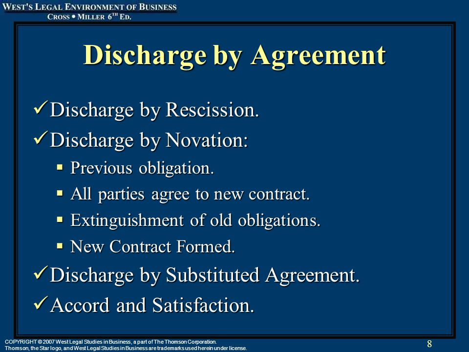 8 COPYRIGHT © 2007 West Legal Studies in Business, a part of The Thomson Corporation.